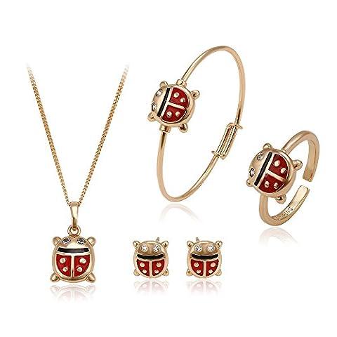 Scintillante coccinelle Xuping plaqué or 18carats. Collections de boucles d'oreille à tige, collier, bague, bracelet, bijoux pour enfant