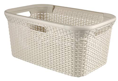 CURVER Style Wäschekorb 45L Wäschebox, Plastik, Creme, 59.2 x 38 x 27 cm