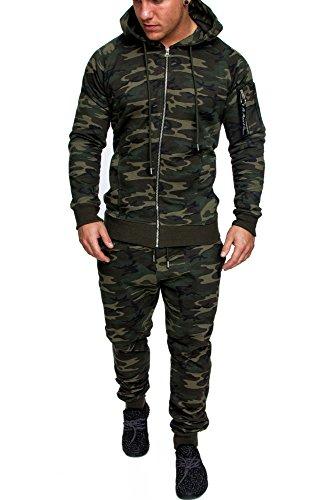 Amaci&Sons Herren Cargo Stil Sportanzug Jogginganzug Trainingsanzug Sporthose+Pullover 1014