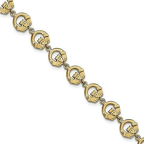 Oro 14K Claddagh Link Bracelet–20centimetri