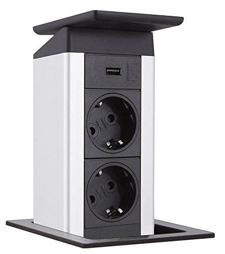 EVOline PORT PUSH Edelstahl 2-fach Einbau-/Küchensteckdose USB Charger versenkbar *558285
