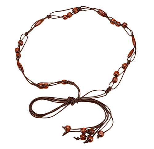 Custom Gürtel-schnalle (EXCHIC Damen Exotische Gürtel Bauchkette mit Quaste und Holzperlen Kleid Schmale Gürtel (Kaffee ##C))