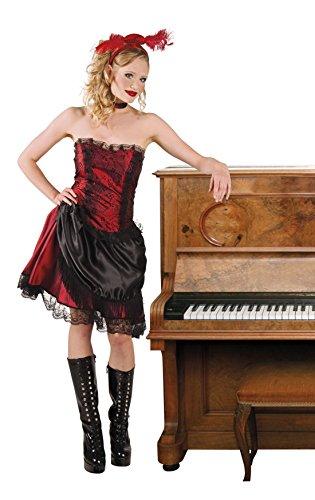 Karnevalsbud - Damen Trägerloses Fashion Kostüm mit Lederartigem Detail , Rot, Größe M