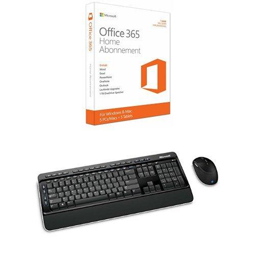 Microsoft Office 365 Home - 5PCs/MACs - 1 Jahresabonnement + Wireless Desktop 3000 Tastatur und Maus schnurlos schwarz