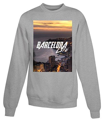 Billion Group | Spain Barcelona Life | City Collection | Women's Unisex Sweatshirt Gris