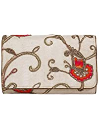 Beige With Orange Flowers Flap Clutches For Womens Party Wear Design 28