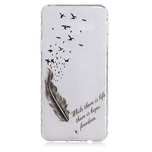 Linvei Hülle für iPhone 5/iPhone SE aus TPU Silikon mit Schöne Muster Design - Schutzhülle Cover in Transparent Schwarze Feder