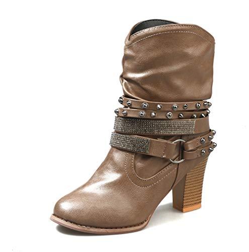 SHANGWU Damen Damen Block Chunky Heels Ankle Boots/Mid High Blockabsatz Reißverschluss Schnallen Geraffte Stiefel Mid-Calf Boots Slouch Boots Größe (Farbe : Braun, Größe : 36) - Braun Mid Calf High Heel