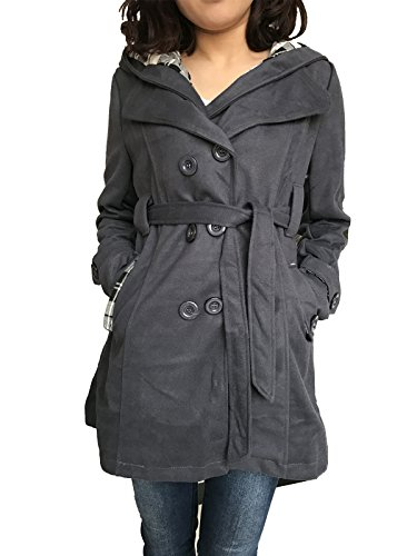 Womens Hooded Fleece Belted Button Coat New Ladies Hooded Military Jacket Plus Sizes