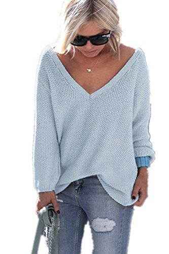 YACOPO Damen Herbst und Winter arbeiten lose mit langen Ärmeln V-Ausschnitt-PulloverSexy Pullover mit V-Ausschnitt Pulli tollen Farben - 12 Farben und 4 Größen