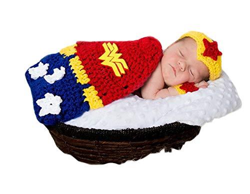 3 STÜCKE Infant Neugeborenes Baby Mädchen Häkeln Kostüm Outfits Fotografie Requisiten Wonder Woman Stirnband+Handgelenkschutz+Mantel 0-6 Monate