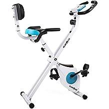 Klarfit Azura Pro • bicicleta fija • bicicleta estática • computadora de entrenamiento • medidor de pulso • peso a rotar de 3 kg • respaldo y soporte lateral • max. 100 kg • blanco-azul