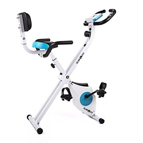 Klarfit Azura Ergometer Heimtrainer für Ausdauertraining, Fitnessfahrrad ( bis 100 kg belastbar, 8-stufiger Widerstand, Trainingscomputer, Pulsmesser) weiß-blau