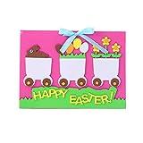 3 stücke Ostern Thema Grußkarten Machen Kit Niedlichen Cartoon Einladungskarte DIY Segen Karten Handgemachte Material Paket für Kinder (Rosa Zug)