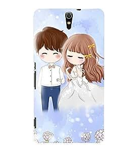 Fuson Cute Couple Case Cover for Sony Xperia C5 dual