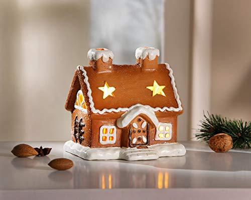 Dekoleidenschaft Lebkuchenhaus aus Terracotta, braun, mit LED Beleuchtung, warmweiß, Pfefferkuchenhaus, Leucht-Deko