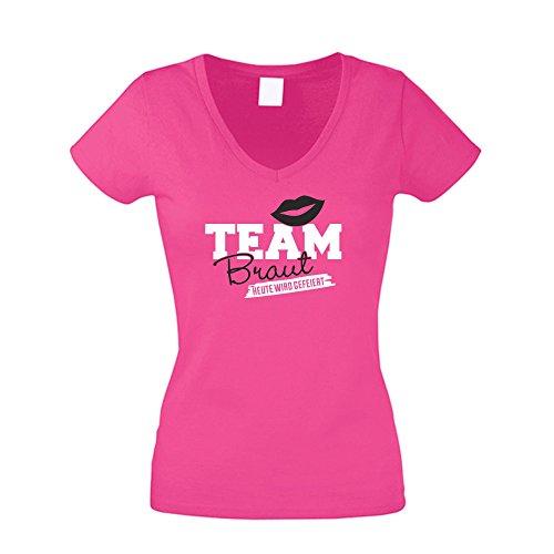 Damen T-Shirt V-Ausschnitt - Team Braut - Heute Wird gefeiert, Fuchsia-Schwarz, M