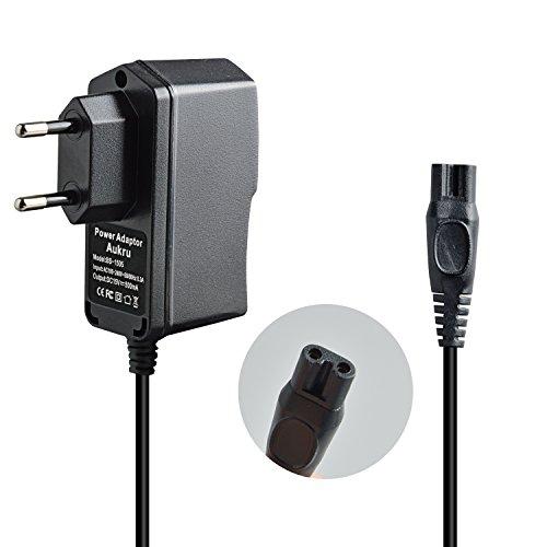 Aukru Chargeur 15V 500mA Adaptateur Secteur Alimentation pour Rasoir électrique Philips séries 6 / 7 / 8, Quadra, Cool Skin, Sensotec, Speed-XL, Smarttouch, Arcitec - Noir