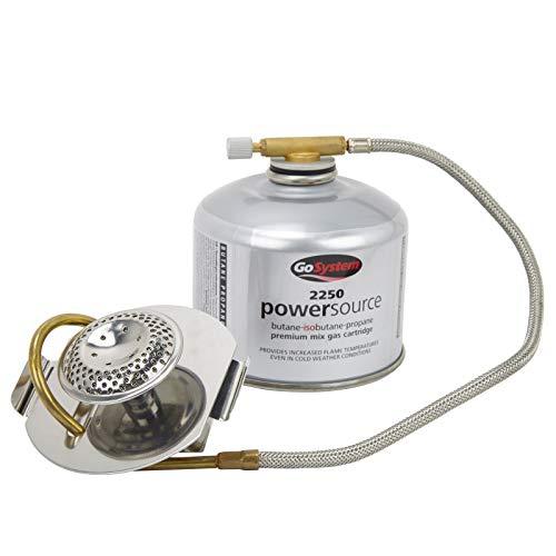 Go System Adapt - Kocher-Gas-Umrüstadapter für Brennspirituskocher funktioniert mit Flüssig- & Dampfgas 170g 100x86x73mm 250 -