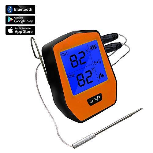 Heocc1 Küchen-Nahrungsmittelgrill-Thermometer-drahtlose Zweikanal-Digitalanzeige-Edelstahl-Doppelsonde