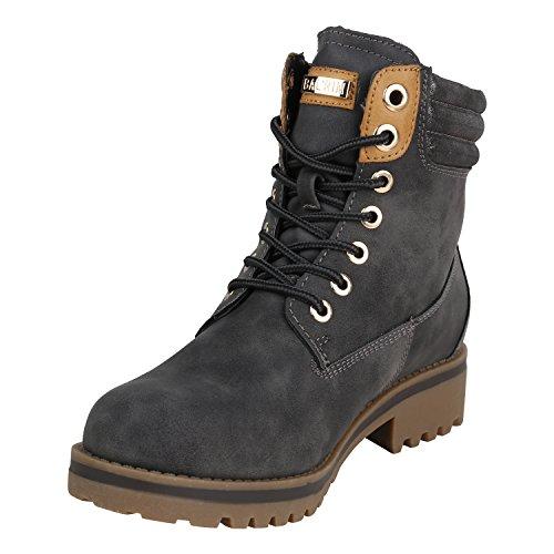 Stiefelparadies Damen Stiefeletten Worker Boots Warm Gefüttert Flandell Grau Glitzer