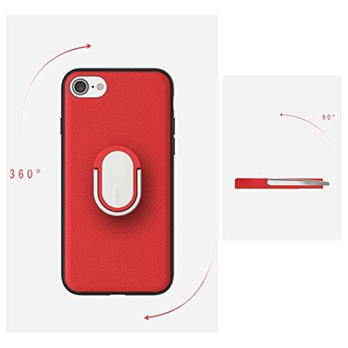 iPhone Case Cover Rock pour iPhone 7 Antiskid Texture Surface PU + Étui de protection pour PC avec cadre TPU et porte-anneau métallique magnétique ( Color : Red ) Red