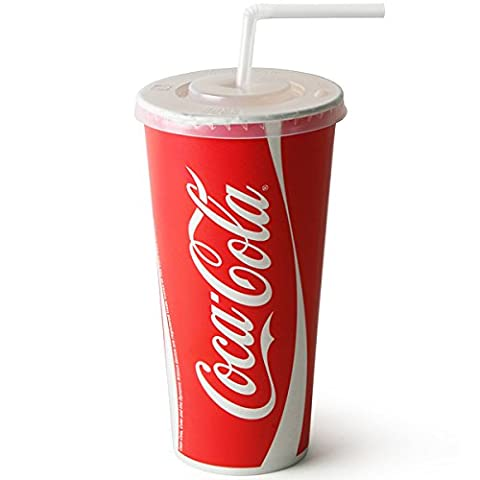 Coca Cola Paper Cups Set 22oz / 630ml - Set of 50 | 50 x Coca Cola Cups, 50 x Straw Slit Lids, 250 x Bendy Straws | Fast Food Restaurant Paper Cups, Branded Coca Cola Cups