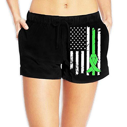 Mental Health Cancer Awareness USA Flag-1 Women's Lightweight Board/Beach Shorts Drawstring Swim Trunks with Pockets(S) - Oakley Lightweight Shorts