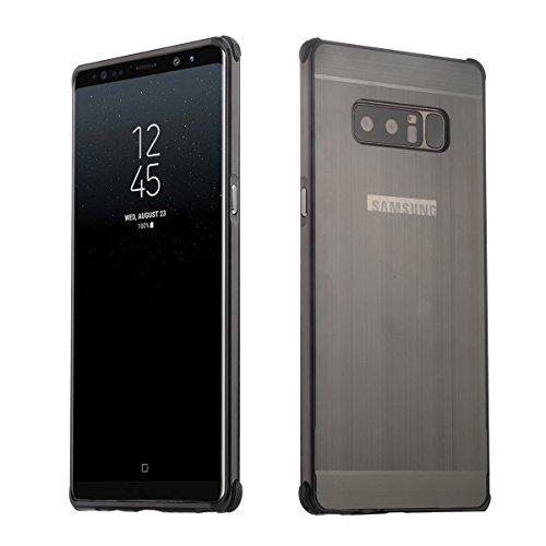 Premium Case Aluminium TPU Schutzhülle Silikon Handyhülle Tasche Case Cover für Samsung Galaxy Note8, Schwarz