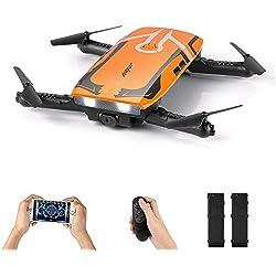 HELIFAR H818 Drone con Camara HD,Mini Dron Plegable WiFi FPV, una tecla de Retorno / retención de la altitud / 2.4G 4 Canales 6 Sensor RC Selfie Quadcopter dron con Dos Battries