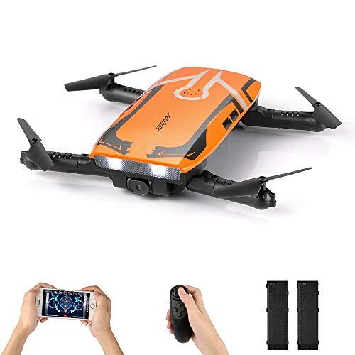 H818 Drone con Camara HD,Mini Dron Plegable WIFI FPV, una tecla de retorno / retención de la altitud / 2.4G 4 canales 6 Sensor RC Selfie Quadcopter dron con dos Battries