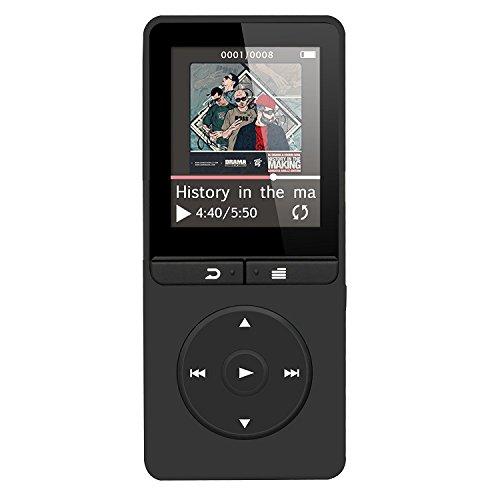 Preisvergleich Produktbild 16GB Lossless MP3 Player mit FM Radio und Aufnahmefunktion, 1.8 Zoll TFT Display Sport Musik Player, 70 Stunden Wiedergabe, von AGPTEK A20S, Schwarz