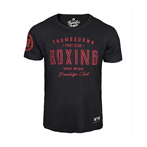 Thumbsdown Thumbs Down Boxeo Peso Pesado Camiseta Brooklyn Fight Club MMA. Gimnasio Entrenamiento. Marcial Artes Informal - Negro, Small