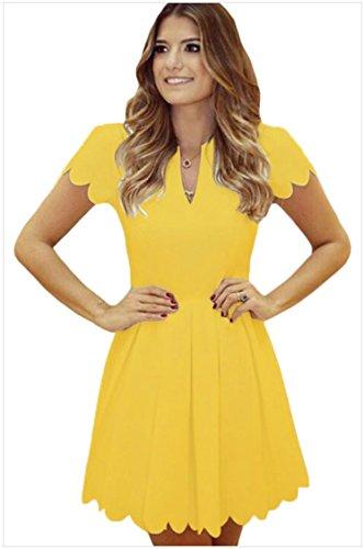 meinice Sweet Scallop plissettato Skater Dress Yellow Large