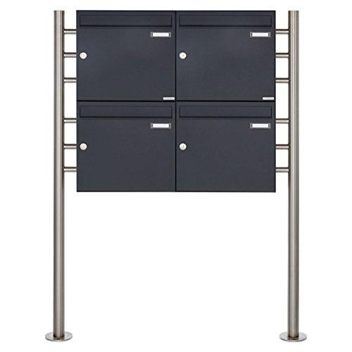4er Standbriefkasten - 4 fach Briefkastenanlage Design BASIC 381 - Briefkasten Manufaktur Lippe (4 Parteien, RAL 7016 anthrazitgrau feinstruktur matt)