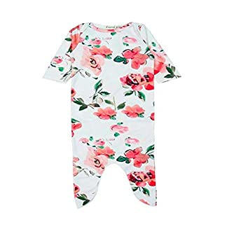 DAOLIANGZAHUO 2 unids Ropa de bebé Saco de Dormir de Manga Larga de algodón Flor orgánica Dormir Saco Diadema Ropa Conjunto huangjunda