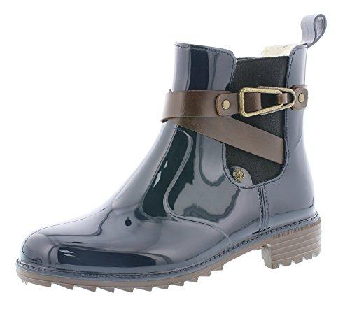 Rieker P8161 Damen Stiefel, Stiefelette, Schlupfstiefel, Boot, Slip-On Boot, modische Lackoptik blau Kombi (Navy/testadimoro/Kastanie / 14), EU 37