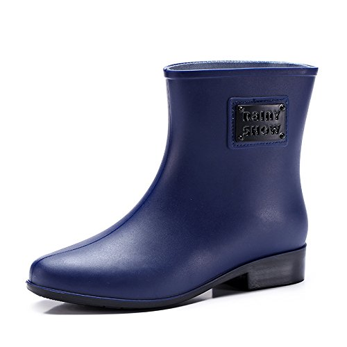 Womens Rubber Welly Shoes Rain Boots Garden Rain Snow Scarpe impermeabili in PVC per esterni deep blue