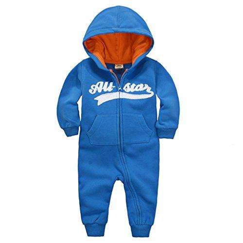 Baby Strampler mit Kapuze Overalls GudeHome Maedchen Jungen Jumpsuit Schneeanzüge Säugling Langarm-Bodysuits Baumwolle Spielanzug,3-6 Monate,A-Blue