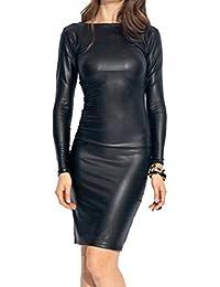 Shujin Damen Winter Langarm Oder Armellos Elegant Midi Bleistiftkleid Bodycon Clubwear Leder Dress in Latex Leder Lack Optik