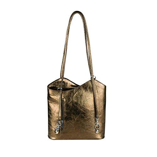 OBC MADE IN ITALY ledertasche-rucksack Strauss Prägung BORSETTA DA DONNA 2 in 12 in 1 Borsa a tracolla borsa a bauletto a Tracolla Tablet/iPad circa 10-12 pollici 27x29x8 cm ( BxHxT ) Bronze (Metallic)