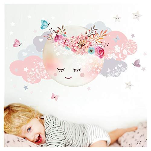 ker Mond & Wolken I Weiß/Rosa XL - 127 x 63 cm (BxH) I Kinderzimmer Wandtattoo Mädchen Baby Deko Zimmer DL246-1-XL ()