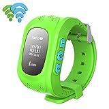Kids Smart Uhr - Kingwo GPS Tracker Uhr Anti-verloren Kinder Smart Uhr GPS Positionierung Bluetooth Armbanduhr für Android (Grün)