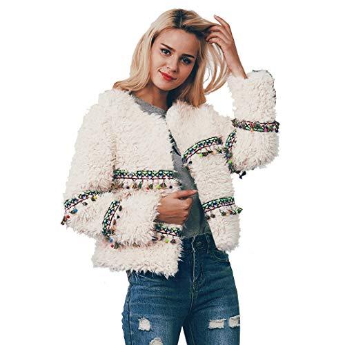 Aceshin Damen Winter Pelzmantel Fellweste Kunstpelz Plüschjacke Kunstfell Winterjacke Langarm Steppjacke Warmen Outwear