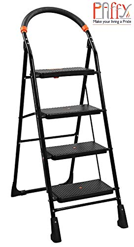 PAffy High Tensile Steel Folding Ladder with Wide Steps - 4 Steps (Clamber), Black