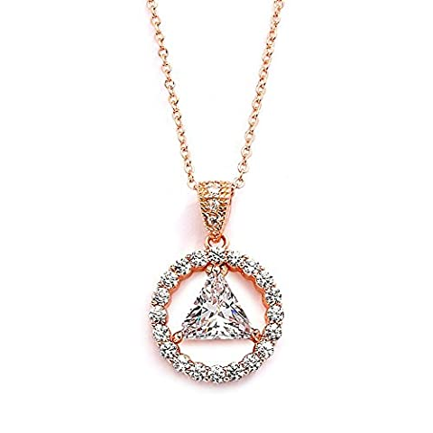 Mariell 14K Rose Gold Plated AA Recovery Necklace CZ Unity