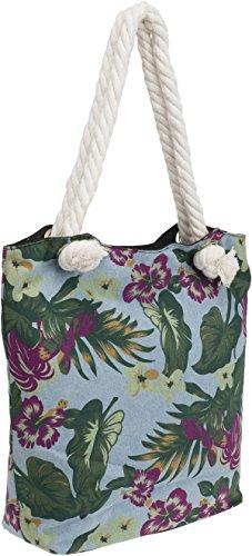 Küstenluder LOURA Palmen HIBISCUS Aloha TIKI Rope Canvas TASCHE Shopper Rockabi Helles Jeansblau mit Hibiskusblüten