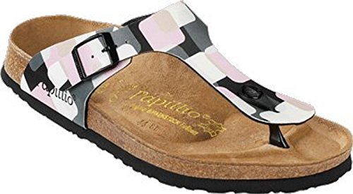 Papillio by Birkentock Gizeh, Infradito Anatomico Donna , Tongs pour femme Squares Wall Black