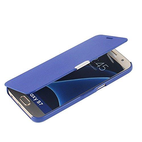 Roi Boutique Etui Housse Flip Cover Coque slim case housse etui style livre bleu