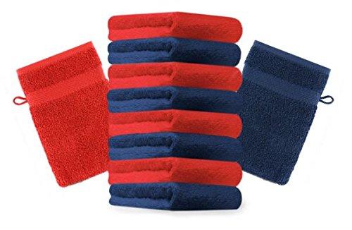 Betz lot de 10 gants de toilette taille 16x21 cm 100% coton Premium couleur rouge, bleu foncé